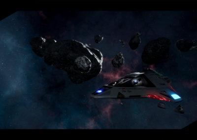 Star Trek Videospiel Vorschau STVGP - Der Deltaflyer in einem Asteroidengürtel