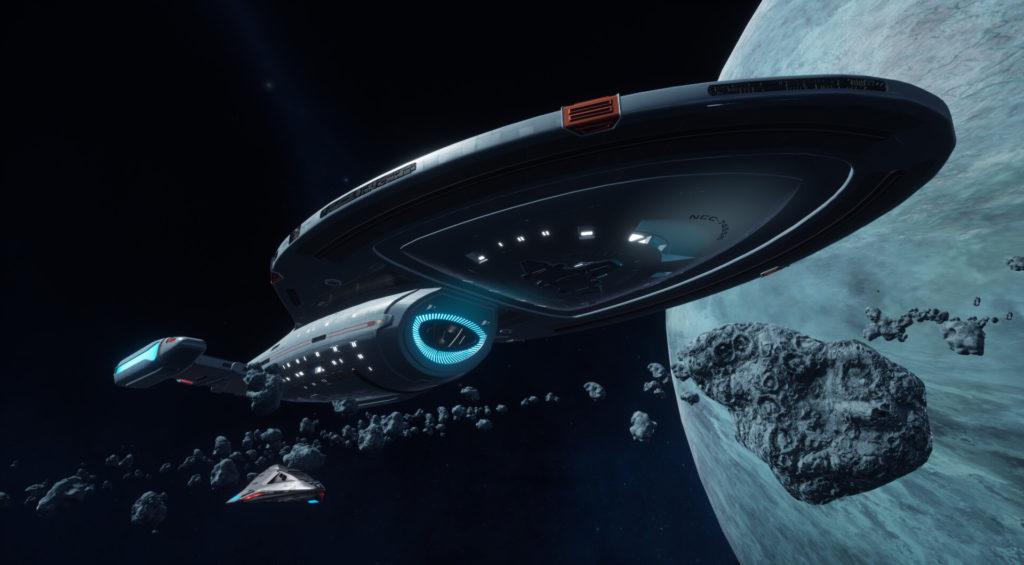 Star Trek Videospiel Vorschau STVGP - U.S.S. Voyager in einem Asteroidengürtel