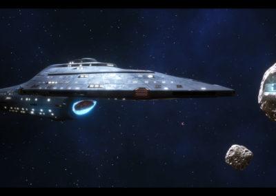 Star Trek Videospiel Vorschau STVGP - Die U.S.S. Voyager vor einer Raumstation